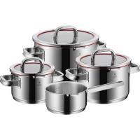 Kookpunt-WMF Function 4 Pannenset met Steelpan en Glasdeksels, 4-delig rood-aanbieding